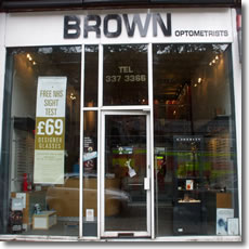 Brown Optometrists Shop Front Window